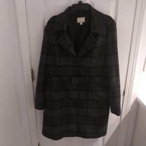 Converse black and gray plaid long jacket size XL